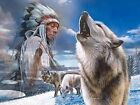 300 Piece Puzzle Great Nations Native American Wolf theme 6200 Kevin Daniel