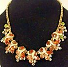 Weiss Rare Vintage Amber Colored Aurora Borealis Rhinestone Bib Necklace Gift