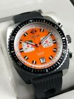 RARE ZODIAC ZO2209 SEADRAGON CHRONOGRAPH ORANGE & PINK SWISS QUARTZ 300M WATCH