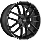 4 Touren TR60 17x75 5x110 5x115 +42mm Matte Black Ring Wheels Rims 17 Inch