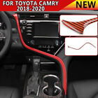 Gloss Red ABS Center Console Decor Strip Trim 1PC For Toyota Camry 2018 2020