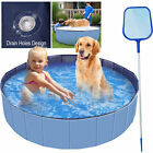 63 Dog Pet Swimming Pool Collapsible Pet Pool Bathing Tub Kiddie Pool Foldable