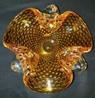 Vintage Murano Light Amber Yellow Bowl GLASS Controlled Bubbles Ashtray Cigar