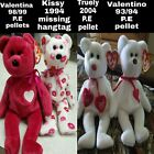 TY beanie baby bundle includes Valentino, Valentina, Kissy, and Truly EUC