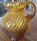 Fenton Glass Hobnail Pattern Pitcher Amber Glass Original Vintage USA