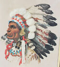 Vtg 1977 Sunset Stitchery INDIAN CHIEF Crewel Embroidery Kit Native American