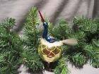 Vintage Blown Glass Long Beak Bird On Nest Clip On Christmas Ornament