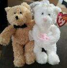 Ty Beanie Babies Set BLISSFUL the Wedding Jointed Bears 6.5 Inch loved condition