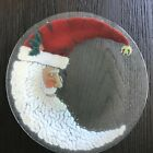 PEGGY CARR Fused Glass CHRISTMAS CRESCENT MOON SANTA 11 Signed Plate NIB