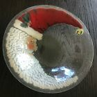 PEGGY CARR Fused Glass CHRISTMAS CRESCENT MOON SANTA 13 Signed BOWL NIB