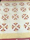 WOW Vintage Well quilted by hand Handmade Magnolia Quilt 73 x 73