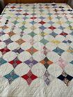 WOW Antique Handmade Kite Star Feed Sack Quilt Well quilted by hand 68 x 79