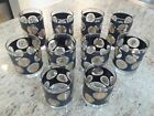Set of 10 Mid Century Retro Vintage Bar Glasses Libbey Black With Gold Coins