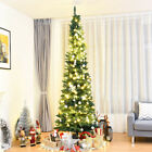 8Ft PVC Artificial Slim Pencil Christmas Tree w Stand Home Christmas Decor Gift