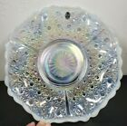 Fenton Opalescent Clear White Daisy and Button Centerpiece Bowl