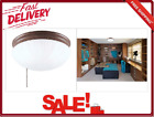 Sienna Flush Mount 2 Light Fixture Frosted Fluted Glass Bowl With Pull Chain New