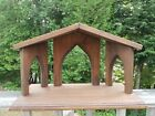 LARGE Hand Crafted WOOD Christmas NATIVITY Creche Stable Manger Cathedral Arches