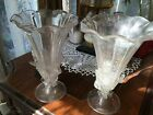 Vintage Pair of Venetian Glass Trumpet Vases with Mica Flakes and Applied Leaves