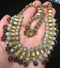 Antique Book chain purple glass faux pearl necklace jewelry Victorian Brass