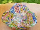 Stunning Murano Art Glass Fratelli Toso Dish with Canes Murrines Tutti Frutti