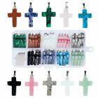 40PCS Stone Cross Pendants Gemstone Lot Craft DIY Charms Necklace Jewelry Gift