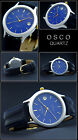 Classic Men's Watch Osco Flat With Indexes Face Azure Blue