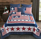 PATRIOTIC 3pc King  QUILT SET  AMERICAN FLAG RED WHITE BLUE STAR BEDDING