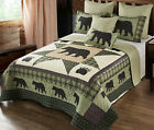BEAR STAR BLACK PAW 3pc King QUILT SET  COUNTRY 8 POINT CABIN WILDLIFE LODGE