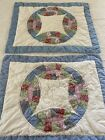 WOW VINTAGE Hand Crafted  Quilted Double Wedding Ring QUILT Shams Set Of 2 563