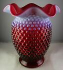 Large Fenton Cranberry Opalescent Hobnail Art Glass 7 3 4 Vase