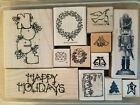 CHRISTMAS RUBBER STAMP LOT WINTER HOLIDAY NOEL DOVE TREE WREATH TOY SOLDIER CARD