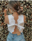 ZARA SS20 Quilted Crop Top Sz M Oyster White Scalloped Hem 7703 410 NWT