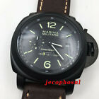 Power reserve black dial 49 mm PVD coated Seagull automatic watch men's military