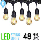 48ft Outdoor String Lights Waterproof Commercial Patio Globe Fairy Light Bulbs