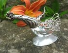Silver and Faceted Crystal Crowing ROOSTER Open Salt Dip Cellar Dish 1