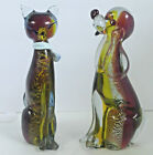 Vtg Murano Glass Dog  Cat Scultures Hand Blown Large Glass Animals 95 Tall