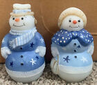 Fenton Art Glass Snowman and Snowlady Figurine
