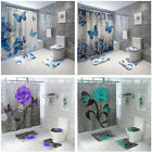 Retro Butterfly Rose Waterproof Shower Curtain Toilet Lid Cover Bathroom Mat