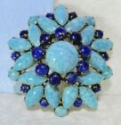 VTG UNSIGNED FAUX TURQUOISE MOTTLED CAB ART GLASS COBALT CABS DOMED BROOCH PIN
