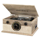 Victrola 6 in 1 Record Player with 3 Speed Turntable Farmhouse Gray Open Box