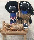 African Christmas Zulu Nativity Dolls Black Hand Beaded Figures Manger Handmade