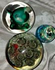 Glass Paperweights Lot Of Three MURANO GES ART Bubble EUC