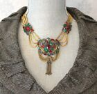 Vintage 1930s Unsigned Hobe Ruby Sapphire  Emerald Cut Glass Necklace