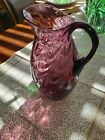 Vintage Signed Fenton Cranberry Swirl 9 1 2 Pitcher with Applied Handle MINT