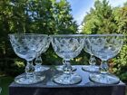 9 Glass Crystal Stemware w Etched Leaf Vine 4 Parfait Glasses Champagne Coupes