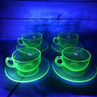 Vintage Green Depression Glass Tea Coffee Cups  Saucers Set of 4
