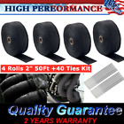 4 Rolls x 2 50Ft Exhaust Manifold Header Black Pipe Heat Wrap Tape+40 Ties Kit