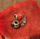 Pair of Venice Glass Beads  Silver Charm Venetian Mask