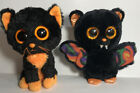Ty Beanie BOO Plastic Big Eyes MOONLIGHT Cat & SCAREM Bat Halloween Retired 6