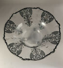 Vintage Victorian Silver Overlay Glass Footed Bowl Art Deco 101 5 By 41 4
